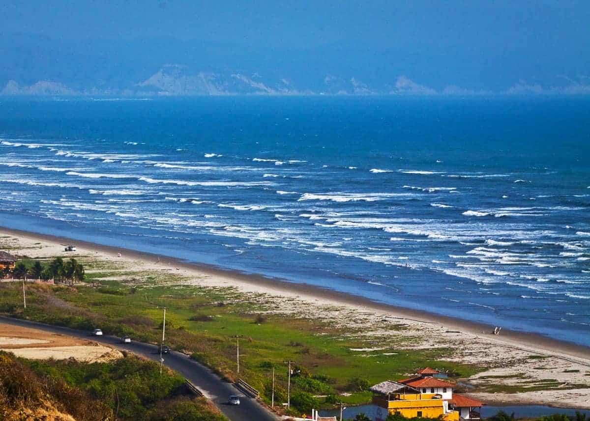 Aerial view of Canoa beach, Ecuador